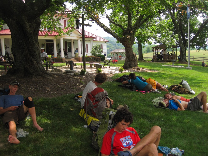 Thru-hikers crashing en masse at the Homeplace