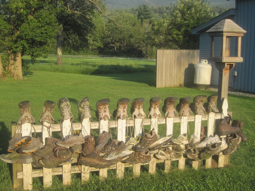 Boots drying at the Green Mountain Hostel.