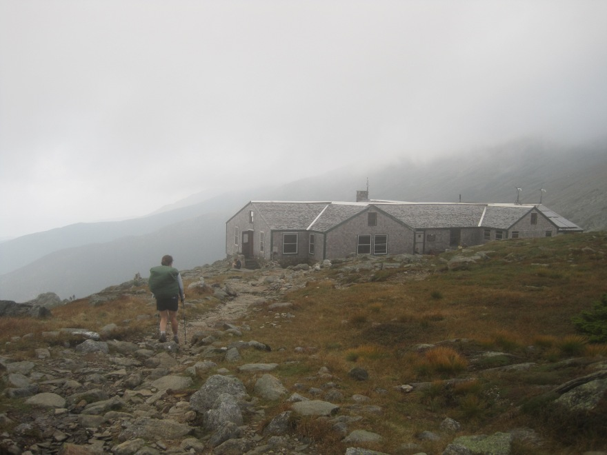Approaching Lakes of the Clouds hut.