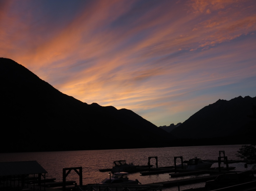 Sunset view from the Stehekin Lodge deck.